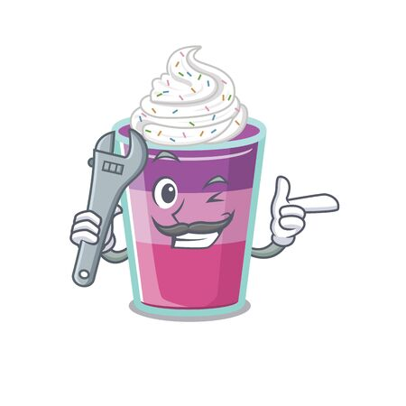 A picture of cocktail jelly mechanic mascot design concept. Vector illustration Illustration