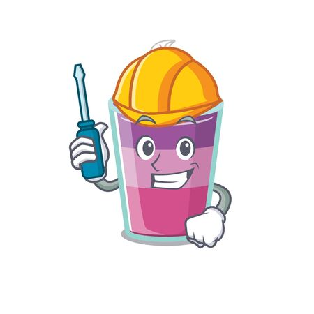 cartoon character of cocktail jelly worked as an automotive. Vector illustration
