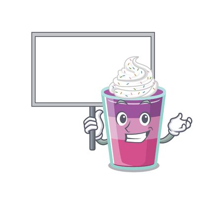 An icon of cocktail jelly mascot design style bring a board. Vector illustration