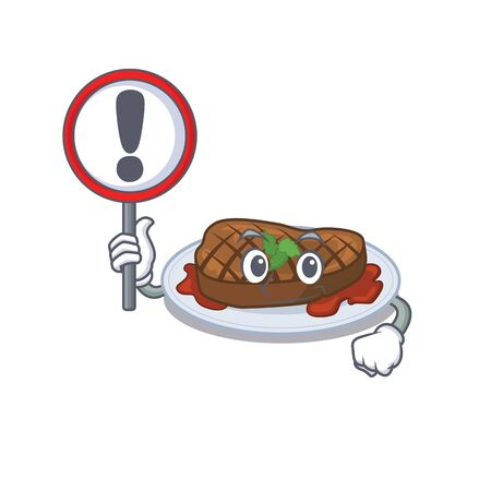 An icon of grilled steak cartoon design style with a sign board. Vector illustration