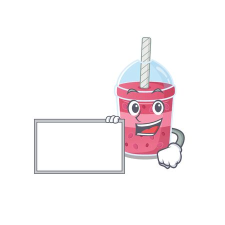 Strawberry bubble tea cartoon character design style with board. Vector illustration