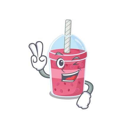 Happy strawberry bubble tea cartoon design concept with two fingers Ilustração