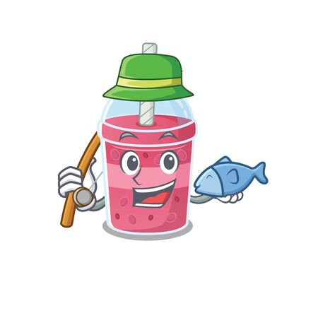 Cartoon design concept of strawberry bubble tea while fishing