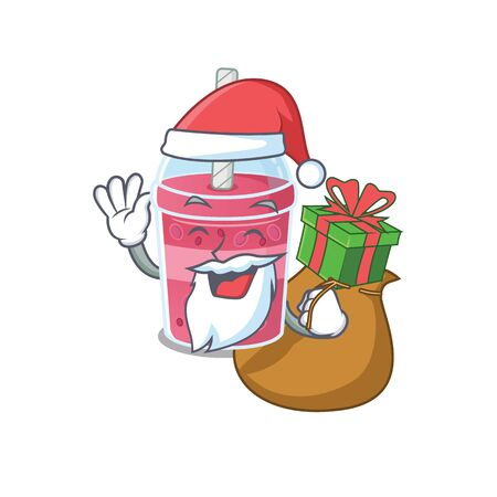 Cartoon design of strawberry bubble tea Santa with Christmas gift Illustration