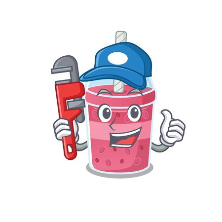 Strawberry bubble tea Smart Plumber cartoon character design with tool