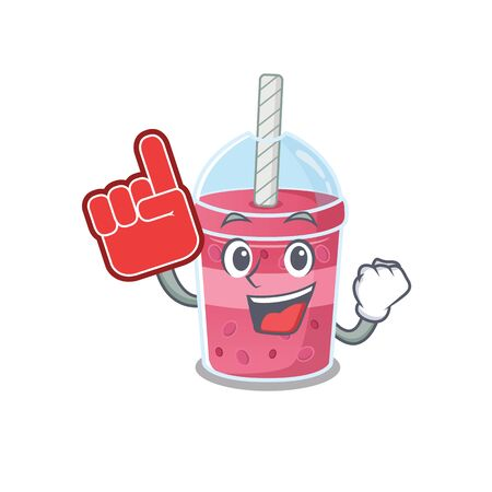 Strawberry bubble tea presented in cartoon character design with Foam finger