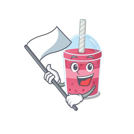 A nationalistic strawberry bubble tea mascot character design with flag. Vector illustration
