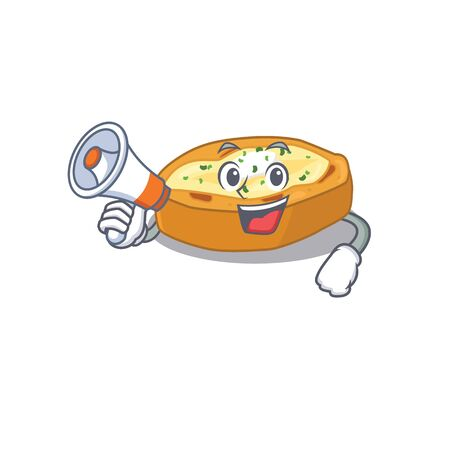 Cartoon character of baked potatoes having a megaphone. Vector illustration Ilustração