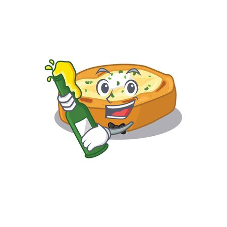 Mascot character design of baked potatoes say cheers with bottle of beer. Vector illustration