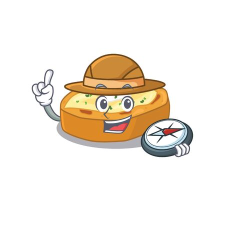 mascot design concept of baked potatoes explorer with a compass