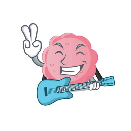 Talented musician of anaplasma phagocytophilum cartoon design playing a guitar Illustration