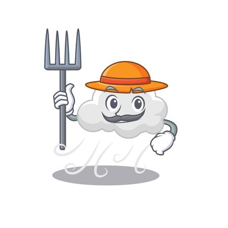 Cartoon character design of cloudy windy as a Farmer with hat and pitchfork