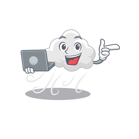 Cartoon character of cloudy windy clever student studying with a laptop