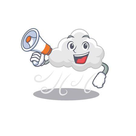 Cartoon character of cloudy windy having a megaphone