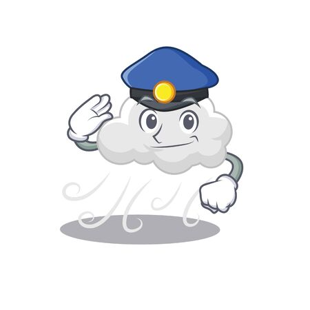 Police officer mascot design of cloudy windy wearing a hat Illustration