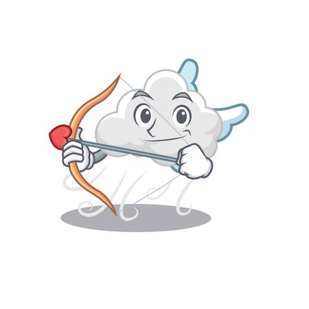 Cloudy windy in cupid cartoon character with arrow and wings