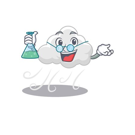 Cloudy windy smart Professor Cartoon design style working with glass tube