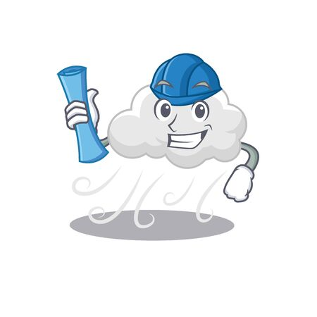 Cartoon character of cloudy windy brainy Architect with blue prints and blue helmet