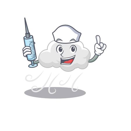 A nice nurse of cloudy windy mascot design concept with a syringe