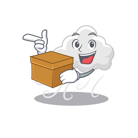 An picture of cloudy windy cartoon design concept holding a box Illustration