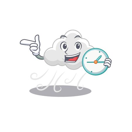 Cloudy windy mascot design concept smiling with clock