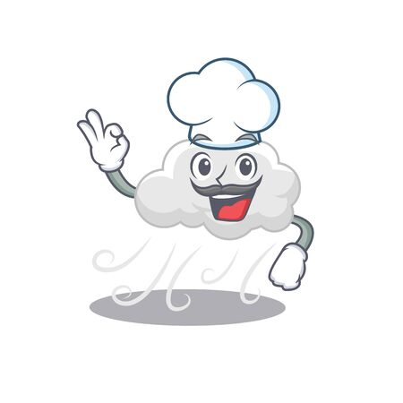 Cloudy windy chef cartoon design style wearing white hat