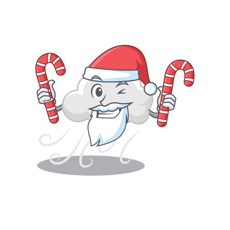 Friendly cloudy windy in Santa Cartoon character holds Christmas candies