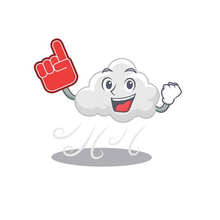 Cloudy windy presented in cartoon character design with Foam finger