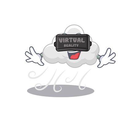 Cartoon design style of cloudy windy with modern Virtual Reality headset Ilustração