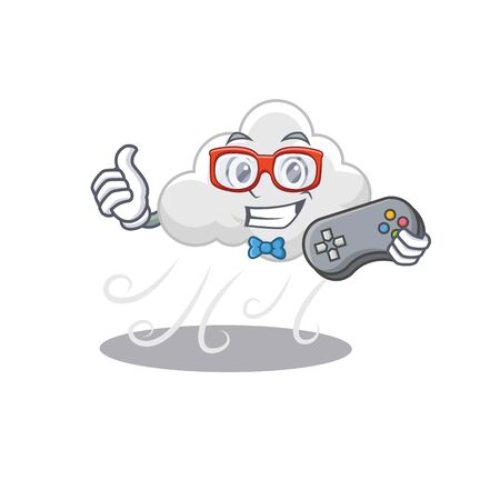 Mascot design concept of cloudy windy gamer using controller