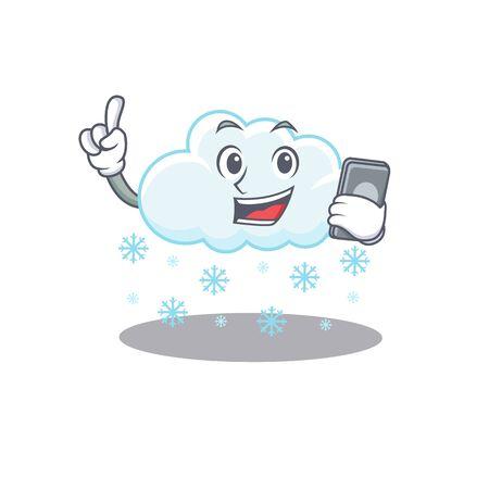 Snowy cloud cartoon character speaking on phone. Vector illustration