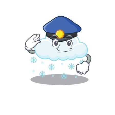 Police officer mascot design of snowy cloud wearing a hat
