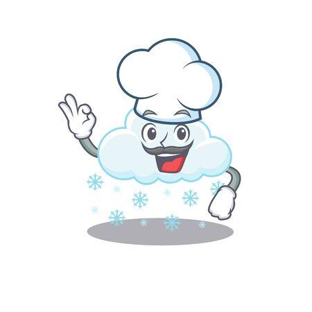 Snowy cloud chef cartoon design style wearing white hat