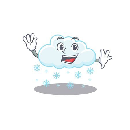 A charismatic snowy cloud mascot design style smiling and waving hand