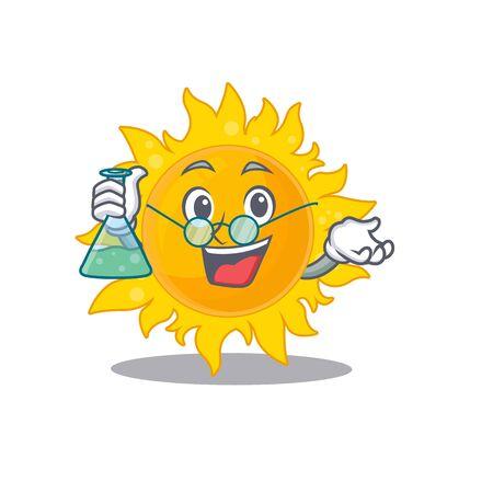 Summer sun smart Professor Cartoon design style working with glass tube