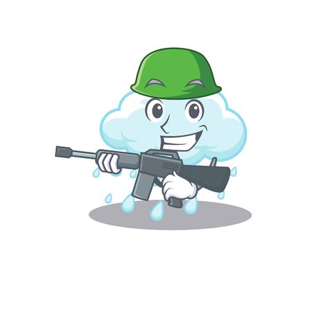 A cartoon picture of cloudy rainy in Army style with machine gun