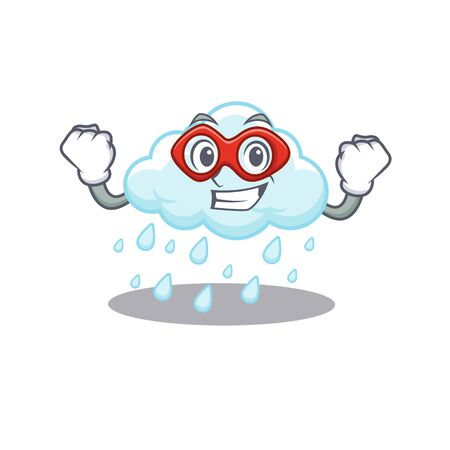 A cartoon character of cloudy rainy performed as a Super hero