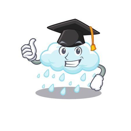 Happy face of cloudy rainy in black graduation hat for the ceremony