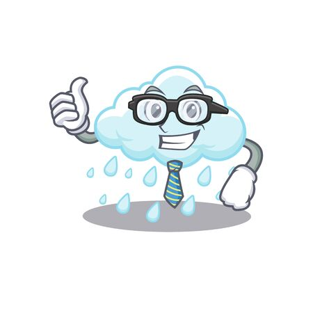 An elegant cloudy rainy Businessman mascot design wearing glasses and tie