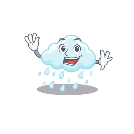 A charismatic cloudy rainy mascot design style smiling and waving hand
