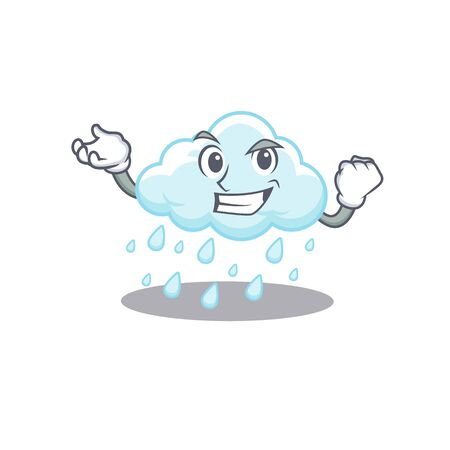 A dazzling cloudy rainy mascot design concept with happy face