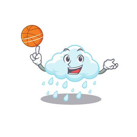 Gorgeous cloudy rainy mascot design style with basketball Ilustração