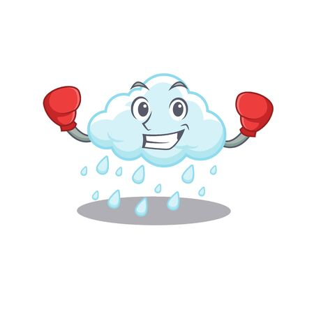 A sporty boxing athlete mascot design of cloudy rainy with red boxing gloves