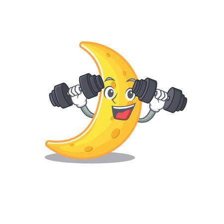 Mascot design of smiling Fitness exercise crescent moon lift up barbells. Vector illustration Vettoriali