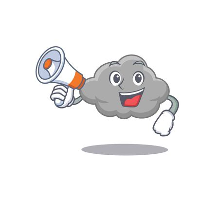 Cartoon character of grey cloud having a megaphone. Vector illustration  イラスト・ベクター素材