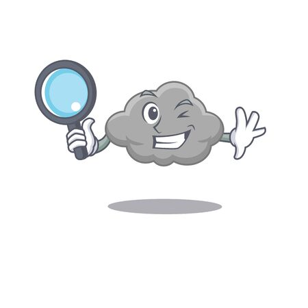 Smart Detective of grey cloud mascot design style with tools. Vector illustration 矢量图像
