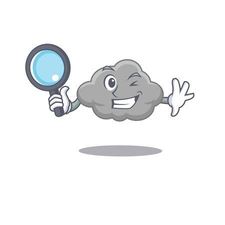 Smart Detective of grey cloud mascot design style with tools. Vector illustration Illusztráció