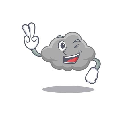Happy grey cloud cartoon design concept with two fingers. Vector illustration