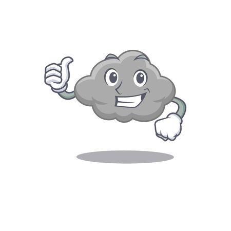 Grey cloud cartoon character design making OK gesture. Vector illustration