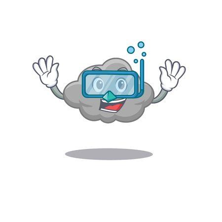 Grey cloud mascot design concept wearing diving glasses. Vector illustration Illusztráció